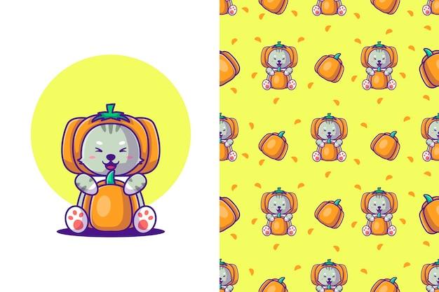Gato de dibujos animados lindo de patrones sin fisuras con calabaza feliz halloween