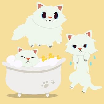 Un gato de dibujos animados lindo personaje acostado en la bañera