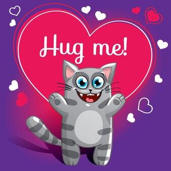 Gato de dibujos animados listo para abrazar. animal gracioso. mascota de dibujos animados lindo sobre fondo blanco. con frase de letras a mano abrázame