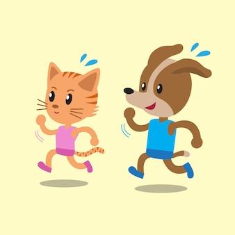 Gato de dibujos animados y perro corriendo