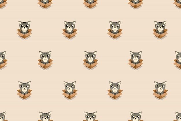 Gato de dibujos animados vector en caja de cartón de patrones sin fisuras