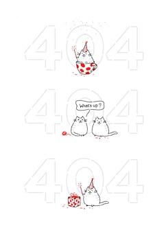 Gato divertido de dibujos animados en la página 404