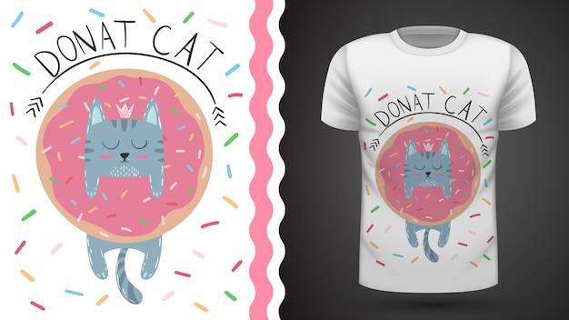 Gato con donut - idea para camiseta estampada.