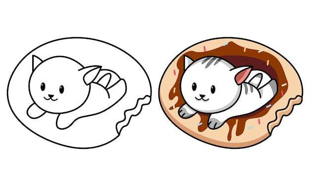 Gato en el donut página para colorear para niños
