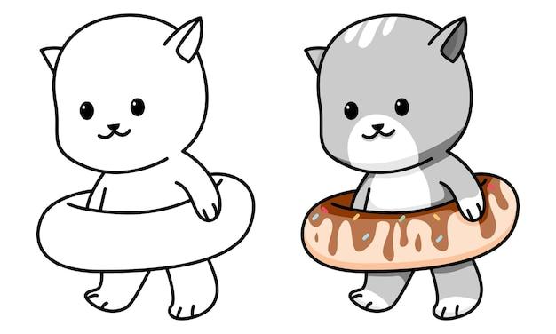 Gato con donut página para colorear para niños