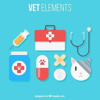 Gato con elementos del veterinario