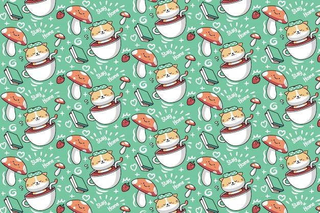 Gato empapado en un patrón de taza de té