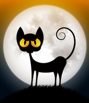 Gato enojado sobre fondo naranja espeluznante con luna llena, ilustración vectorial.