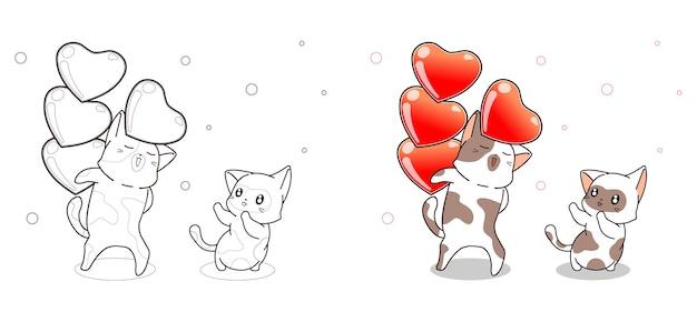 Gato está enviando corazones a un amigo página para colorear de dibujos animados