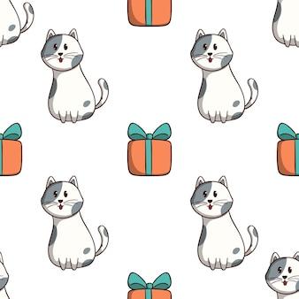 Gato feliz con caja de regalo de patrones sin fisuras con estilo doodle de colores sobre fondo blanco