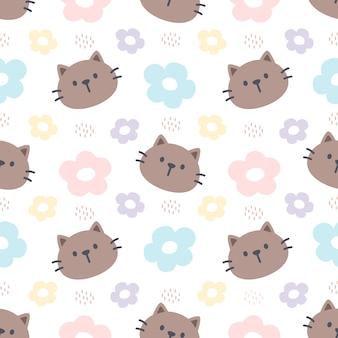Gato y flores sin fisuras de fondo