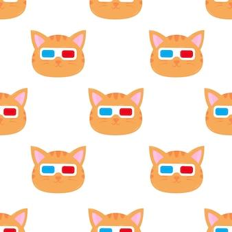 Gato con gafas ilustración de dibujos animados de patrones sin fisuras