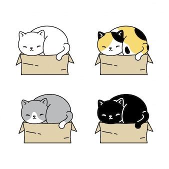 Gato gatito caja de papel de dibujos animados
