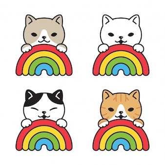 Gato, gatito, caricatura, arco iris, ilustración