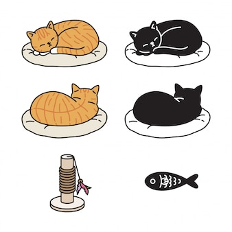 Gato gatito durmiendo icono de dibujos animados