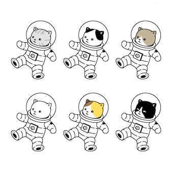 Gato gatito icono traje espacial mascota dibujos animados