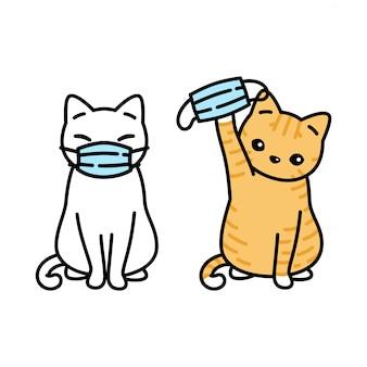 Gato gatito mascarilla covid-19 coronavirus | Vector Premium