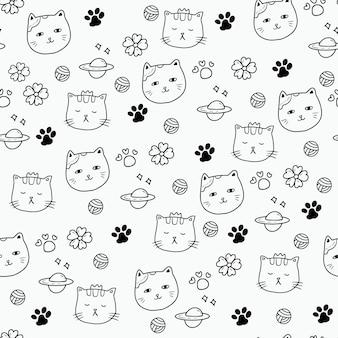 Gato gatito pata arte de diseño de patrones sin fisuras