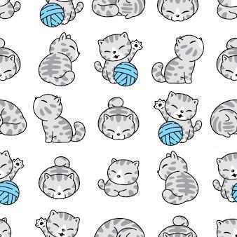 Gato gatito de patrones sin fisuras bola de hilo personaje de dibujos animados