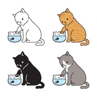 Gato gatito pecera de dibujos animados