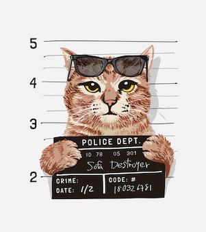 Un gato genial con gafas de sol con ilustración de signo de mugshot