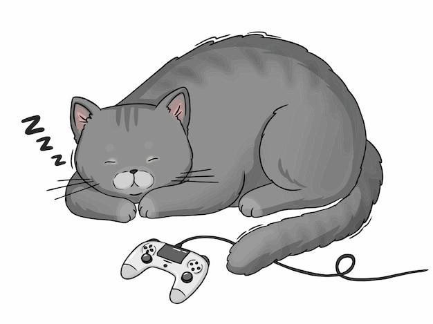 Gato gris de dibujos animados durmiendo con joystick de playstation