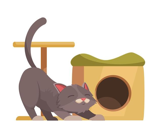 Gato gris de dibujos animados junto a su casa con rascador