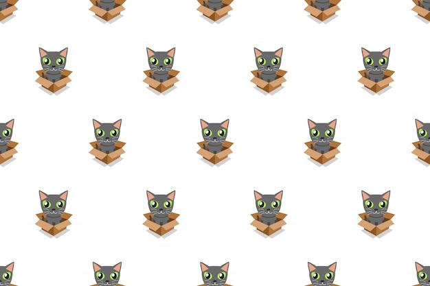 Gato gris de dibujos animados vector en caja de cartón de patrones sin fisuras