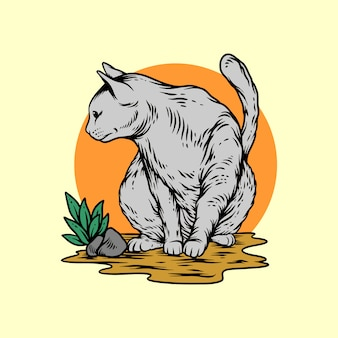 Gato gris en estilo de dibujo a mano