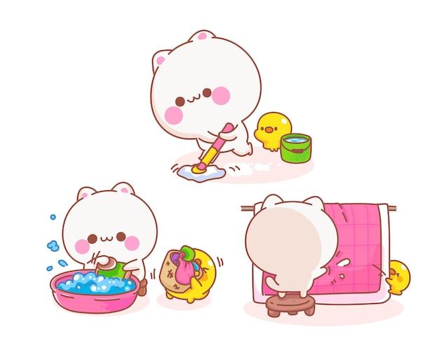 Gato haciendo tareas domésticas con ilustración de dibujos animados de pato