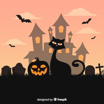 Gato de halloween adorable dibujado a mano