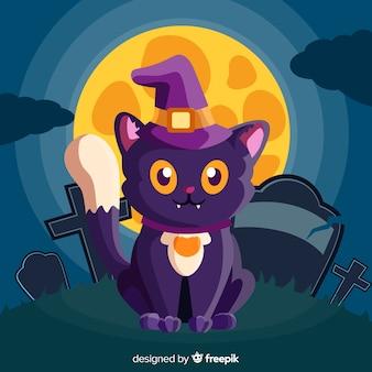 Gato de halloween adorable con diseño plano