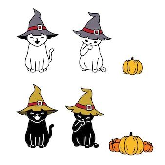 Gato halloween bruja sombrero calabaza gatito dibujos animados