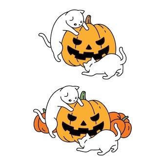 Gato halloween calabaza gatito personaje de dibujos animados