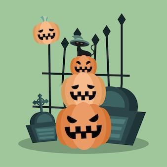 Gato de halloween en calabazas con diseño de tumbas, tema aterrador
