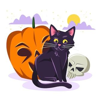 Gato de halloween de diseño plano