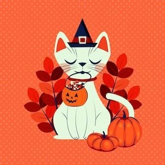 Gato de halloween disfrazado de personaje de bruja