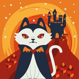 Gato de halloween disfrazado de personaje de drácula