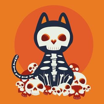 Gato de halloween disfrazado de personaje katrina