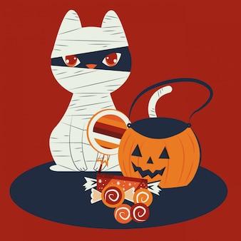 Gato de halloween disfrazado de personaje de momia