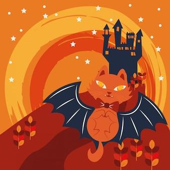 Gato de halloween disfrazado de personaje vampiro