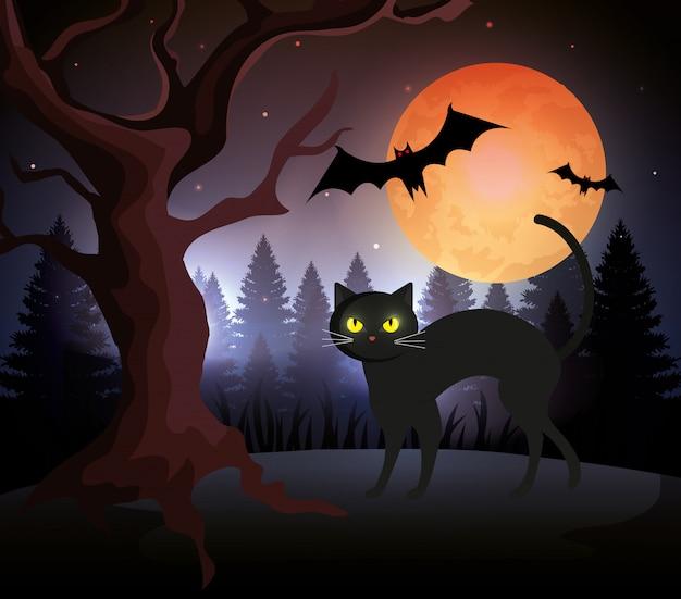 Gato de halloween con murciélagos volando y luna en la noche oscura