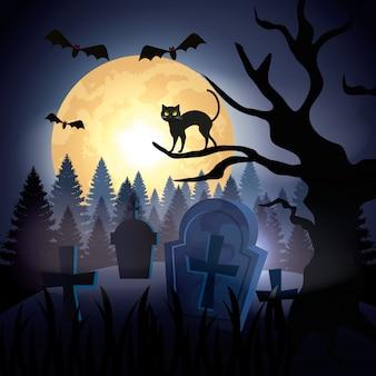 Gato de halloween sobre árbol seco en cementerio