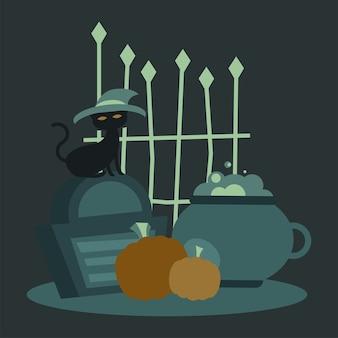 Gato de halloween con sombrero en el diseño de la tumba y la puerta, tema de miedo
