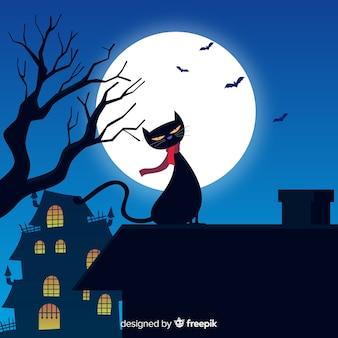 Gato de halloween terrorífico con diseño plano
