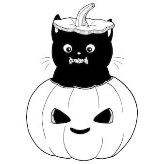 Gato en la ilustración de calabaza de halloween