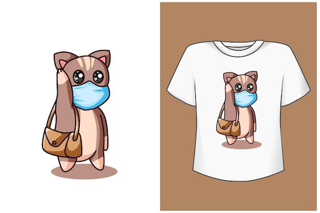 Gato con ilustración de dibujos animados de máscara