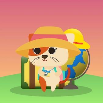 Gato en la ilustración de vacaciones