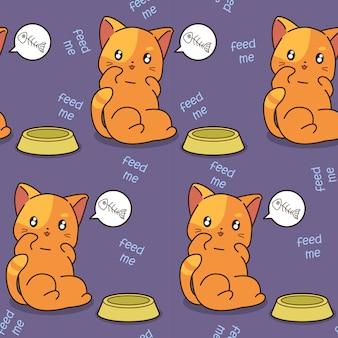 El gato inconsútil es patrón hambriento.