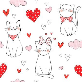 Gato inconsútil del modelo con poco corazón para la tarjeta del día de san valentín.